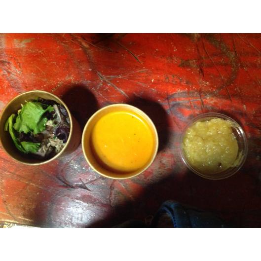 formule d'hiver( suite): velouté de courge,salade paysanne,compote de pomme