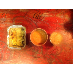 formule hiver:veloute detoxe carotte bio,orange,gratin de poireaux ,salade ananas